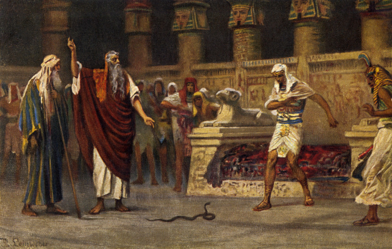 Moses and Aaron meet Pharaoh and Aaron turns his rod into a snake. by Robert Leinweber. (Czech artist 1845 -1921) | Alamy