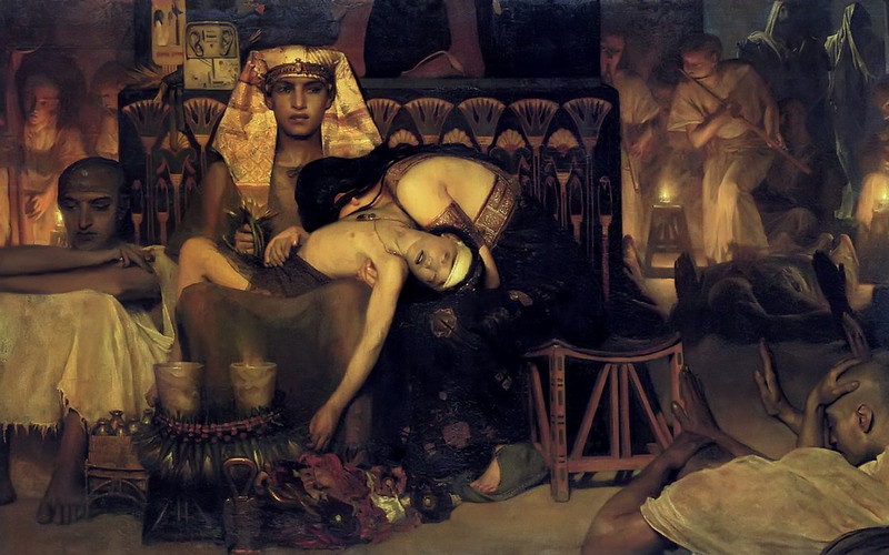 Death of the Pharaoh's Firstborn Son painting by Lawrence Alma-Tadema (1872). Public domain photo via Wikimedia Commons