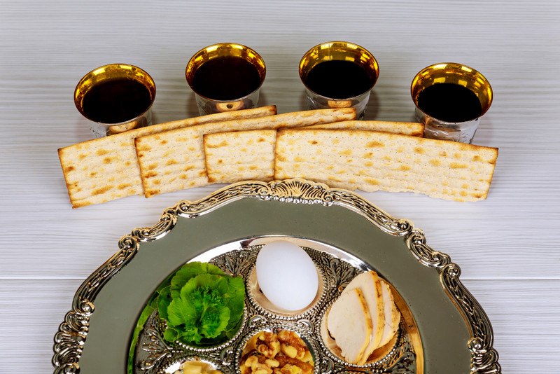 Traditional pesach plate. Photo 111997793 © Photovs | Dreamstime.com
